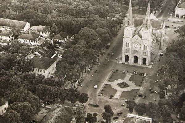 Notre dame cathedral Saigon from above