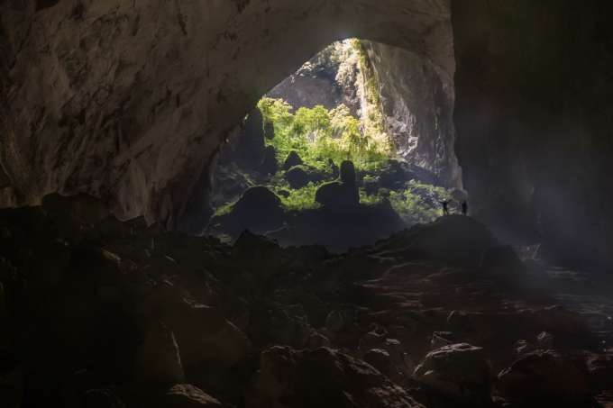 Tiny people inside the world's largest cave