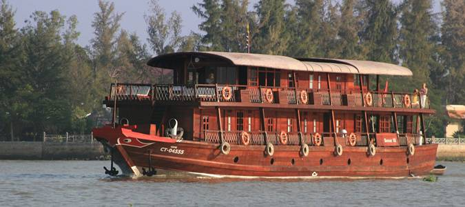 Bassac cruises on the Mekong Delta
