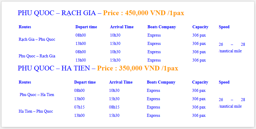 Ticket Price and Time Table on Phu Quoc Express Boat