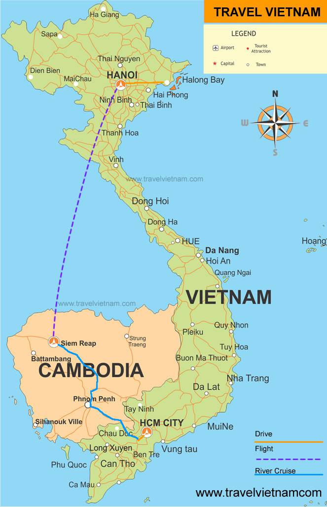 Luxury Vietnam Cambodia map Travelvietnam.com