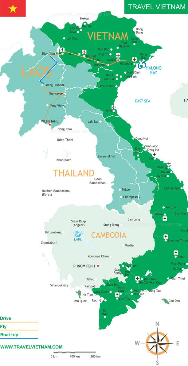 Laos and North Vietnam Adventure 13 Days Travel Vietnam – Tourist Map Laos