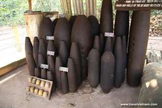 Bombs and Shells of the US Army on Cu Chi Tunnels