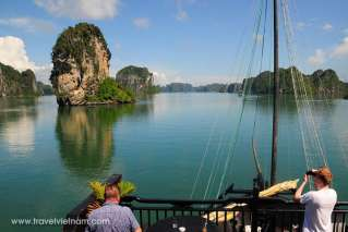Beautiful Halong bay admiration from the cruise