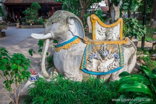 An elephant statue at Quan Thanh Temple