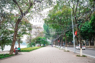 Walkway on Hoan Kiem lake shore