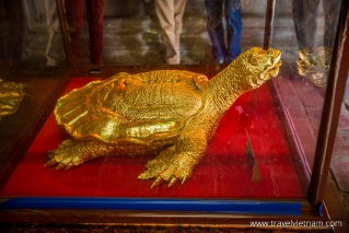 A gold plated, ceremic tortoise