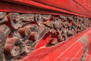 Detailed wooden decoration in Temple of Literature