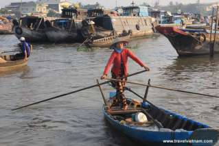 Boat is a convenient way to transport goods in Mekong Delta