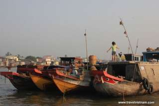 Wooden boats on Mekong Delta