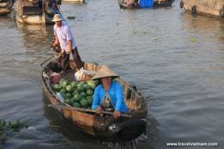 Watermelon boat at Mekong floating market