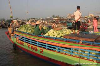 Cabbage boat at Mekong floating market