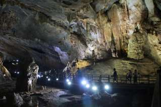 Tourists visiting Paradise Cave