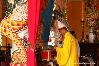 A priest in Cao Dai Temple