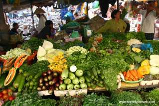 Colorful vegetables stall in local market