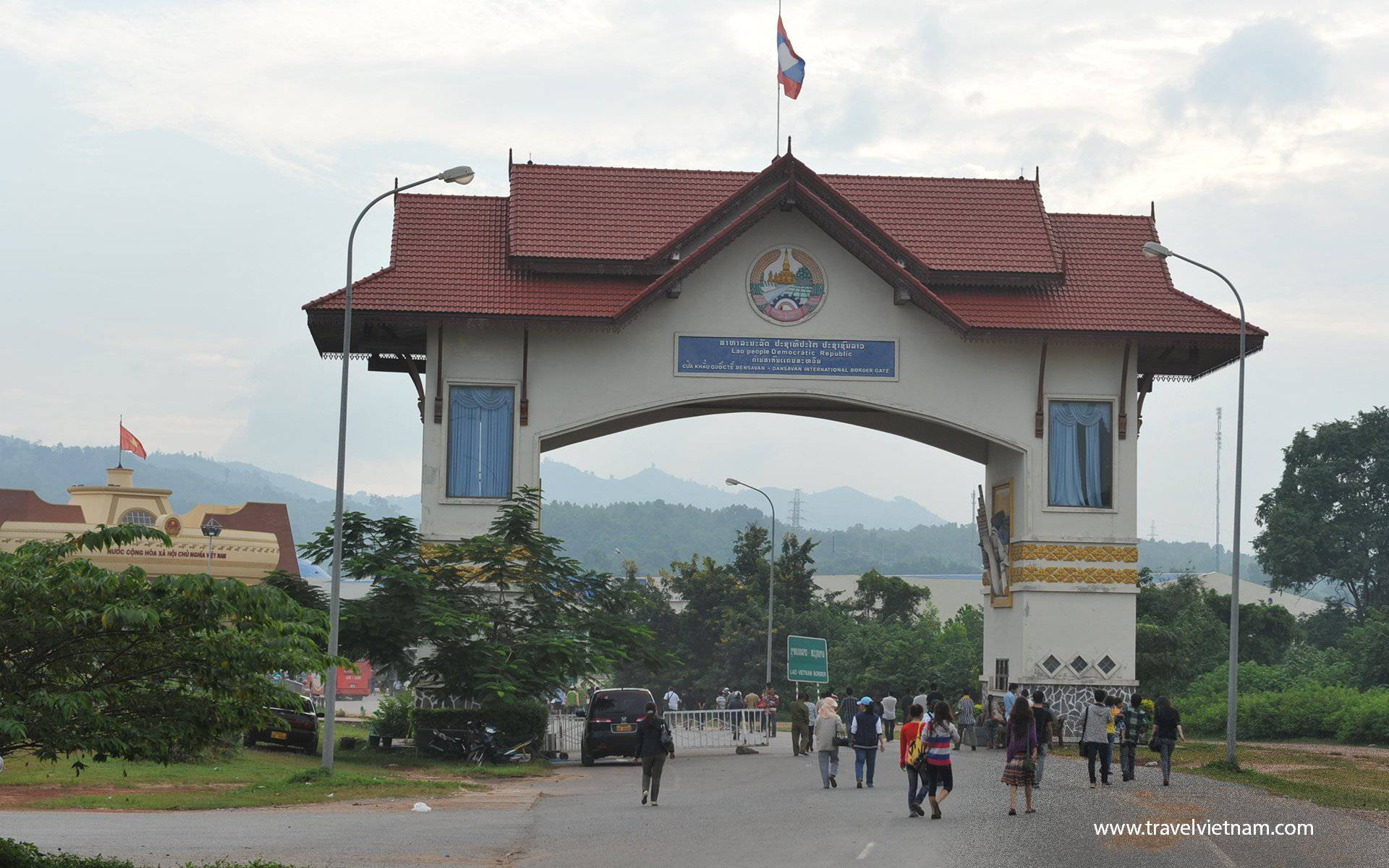 Immigration at Lao Bao border gate Laos to Vietnam