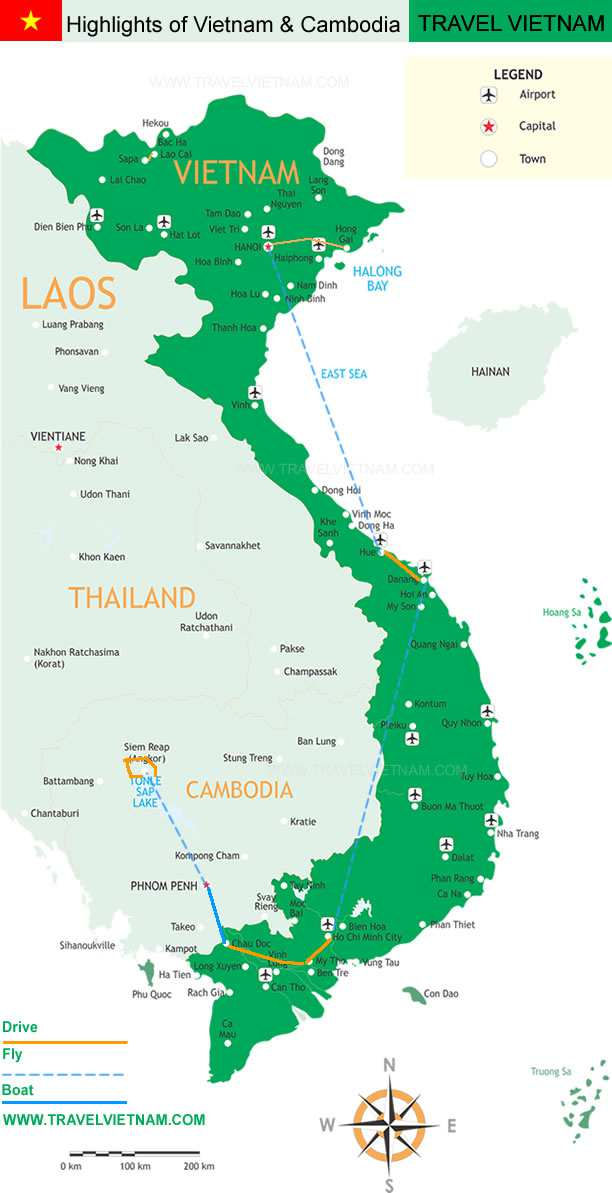 Map Highlights Vietnam Cambodia